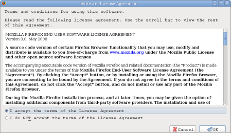 Software LIcense Agreement Firefox 3